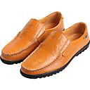 tanie Sandały męskie-Męskie Komfortowe buty Skóra Lato Mokasyny i buty wsuwane Czarny / Jasnobrązowy / Ciemnobrązowy