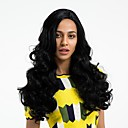 cheap Synthetic Capless Wigs-Synthetic Wig Women's Wavy Black Side Part Synthetic Hair Natural Hairline Black Wig Long Capless Dark Black MAYSU / Yes