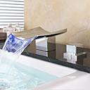 abordables Grifos de Lavabo-grifo del lavabo del baño - cascada extendida cubierta de cromo montada dos asas tres orificios led