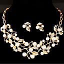 cheap Jewelry Sets-Women's Jewelry Set - Imitation Pearl Leaf, Flower Sweet Include Gold / Silver For Wedding Party