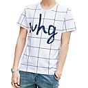 cheap Cycling Jersey & Shorts / Pants Sets-Men's Street chic Cotton Slim T-shirt - Plaid Print Round Neck / Short Sleeve