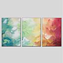 olcso Absztrakt festmények-Nyomtatás Kézzel festett - Absztrakt Modern Tartalmazza belső keret / Három elem