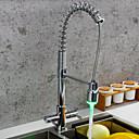 preiswerte Bodenabfluss-Armatur für die Küche - Zwei Griffe Ein Loch Chrom Pull-out / Pull-down / Standard Spout / Hoch / High-Arc Mittellage Moderne Kitchen Taps