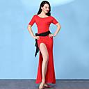 ราคาถูก ชุดเต้นระบำหน้าท้อง-ชุดเต้นระบำหน้าท้อง ชุดเดรสต่างๆ สำหรับผู้หญิง การฝึกอบรม Modal ผ่า แขนสั้น สูง ชุดเดรส