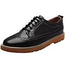 זול נעלי בד ומוקסינים לגברים-בגדי ריקוד גברים PU אביב / סתיו נוחות נעלי אוקספורד שחור / אפור / חום