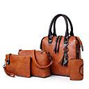 ieftine Genți Umeri-Pentru femei Genți PU Seturi de sac Set de pungi din 4 buc Fermoar Roșu-aprins / Gri / Maro