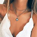 billige Mote Halskjede-Lag-på-lag Anheng Halskjede - Dråpe Vintage Sølv 35 cm Halskjeder Smykker Til Fest / aften, Gave, Gate