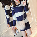cheap Necklaces-Girl's Daily Geometric Dress, Acrylic Winter Fall Long Sleeves Stripes Blue