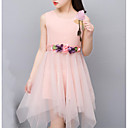 cheap Girls' Dresses-Girl's Daily Going out Holiday Solid Dress Summer Sleeveless Bow Lace White Blushing Pink Purple
