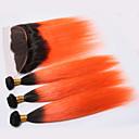 tanie Dopinki farbowane-4 zestawy Włosy brazylijskie Prosta Włosy naturalne Taśma włosów z zamknięciem Pomarańczowy Ludzkie włosy wyplata Włosy ombre Ludzkich włosów rozszerzeniach Damskie