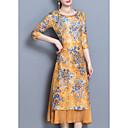 baratos Clutches & Bolsas de Noite-Mulheres Tamanhos Grandes Delgado Bainha Vestido Floral Médio