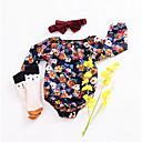 tanie The Freshest One-Piece-Dziecko Dla dziewczynek Codzienny Kwiaty Długi rękaw Bawełna Body Czarny 100 / Śłodkie / Brzdąc