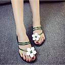 preiswerte Damen Sandalen-Damen Schuhe PU Sommer Komfort Sandalen Flacher Absatz Runde Zehe Weiß / Schwarz / Grün
