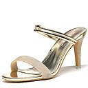baratos Sapatos de Noiva-Mulheres Sapatos Micofibra Sintética PU Verão / Outono Gladiador / Plataforma Básica Sandálias Salto Agulha Dourado / Preto
