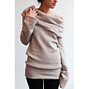 cheap Women's Sweaters-Women's Street chic Long Sleeve Loose Pullover - Solid Colored Off Shoulder / Spring