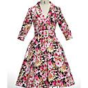 baratos Roupas para Corrida, Ioga & Fitness-Mulheres Vintage Bainha Vestido Floral Médio