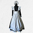 cheap Women's Heels-Maid Costume Outfits Costume Men's / Women's Outfits Black with White Vintage Cosplay Polyester 3/4 Length Sleeve Halloween Costumes