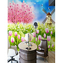 abordables Caja de TV-Mural Lona Revestimiento de pared - adhesiva requerida Floral Art Decó 3D
