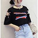abordables Comodidad durante el viaje-Mujer Básico Camiseta Bloques / Letra / Cortado
