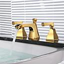 baratos Torneiras de Banheiro-Torneira pia do banheiro - Separada Dourado Difundido Duas alças de três furosBath Taps