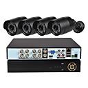 preiswerte AHD Sets-4 ch Sicherheitssystem mit 1080n ahd dvr 4pcs 1.0mp wetterfeste Kameras mit Nachtsicht