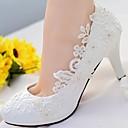 olcso Menyasszonyi cipők-Női Cipő Csipke / PU Tavasz / Ősz Hátsó pántos Esküvői cipők Tűsarok Kerek orrú Strasszkő / Glitter Fehér