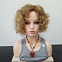 halpa Synteettiset peruukit verkolla-Synteettiset peruukit Kihara Sivuosa Synteettiset hiukset Heat Resistant / Bangsin kanssa Vaaleahiuksisuus Peruukki Naisten Mid length Suojuksettomat / Kyllä