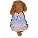 baratos Roupas para Cães-Cachorros Gatos Vestidos Roupas para Cães Retalhos Laço Cinzento Rosa claro Tecido de Algodão Ocasiões Especiais Para animais de estimação
