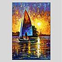 tanie Modne kolczyki-Hang-Malowane obraz olejny Ręcznie malowane - Krajobraz Nowoczesny Naciągnięte płótka / Rozciągnięte płótno