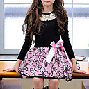 preiswerte Sturmhauben & Gesichtsmasken-Mädchen Kleid Alltag Blumen Patchwork Baumwolle Polyester Frühling Herbst Langarm Blumig Schleife Beige Rosa