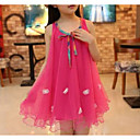 cheap Girls' Dresses-Girl's Going out Holiday Solid Jacquard Dress, Rayon Spring Summer Sleeveless Cute Street chic Fuchsia