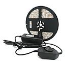 billige LED Strip Lamper-ZDM® 5 m Lyssett 300 LED 5050 SMD 1 x 12V 3A adapter / 1 x dimmerbryter Varm hvit / Kjølig hvit / Rød Kuttbar / Selvklebende 12 V 1set