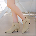 cheap Women's Boots-Women's Shoes Leather Winter Comfort Boots Chunky Heel Gray / Brown / Almond