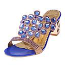 preiswerte Damen Sandalen-Damen Schuhe PU Sommer Fersenriemen Sandalen Blockabsatz Schwarz / Hellblau / Königsblau