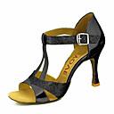 abordables Zapatos de Baile Latino-Mujer Zapatos de Baile Latino / Zapatos de Salsa PU Sandalia / Tacones Alto Hebilla / Corbata de Lazo Tacón Personalizado Personalizables Zapatos de baile Plata / Azul / Oro / Rendimiento