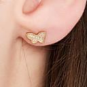 olcso Divat fülbevalók-Női Beszúrós fülbevalók - 18 karátos futtatott arany, S925 ezüst Pillangó Kecses, Édes Arany Kompatibilitás Napi / Utca