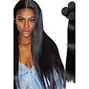 tanie Dopinki naturalne-4 zestawy Włosy mongolskie Prosta Włosy naturalne Fale w naturalnym kolorze / Pakiet włosów / Doczepy z naturalnych włosów Kolor naturalny Ludzkie włosy wyplata Miękka / Klasyczny / Gorąca wyprzedaż