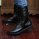 cheap Men's Boots-Men's Combat Boots Leather Winter Comfort Boots Mid-Calf Boots Black
