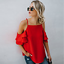 cheap Latin Dance Wear-Women's Going out Street chic Petal Sleeves Cotton Loose Blouse - Solid Colored Backless / Ruffle Strap / Off Shoulder / Summer