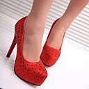 preiswerte Damen Heels-Damen Schuhe Glitzer / PU Frühling / Herbst Komfort High Heels Stöckelabsatz Silber / Rot / Party & Festivität