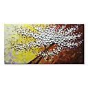 tanie Obrazy olejne-styledecor® nowoczesne ręcznie malowane białe kwiaty drzewa w żółtym i brązowym tle obraz olejny na płótnie ściany na owinięte płótnie