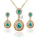 ieftine Set de Bijuterii-Pentru femei Set bijuterii Placat Auriu Simplu, Modă Include Cercei Rotunzi Coliere Choker Coliere cu Pandativ Seturi de bijuterii de mireasă Verde Pentru Nuntă Zilnic