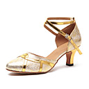 cheap Modern Shoes-Women's Modern Shoes Synthetic Heel Buckle Cuban Heel Dance Shoes Gold / Silver / Practice