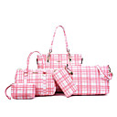 baratos Conjunto de Bolsas-Mulheres Bolsas PU Conjuntos de saco 5 Pcs Purse Set Estampa Geométrica Vermelho / Rosa / Cinzento