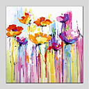 cheap Abstract Paintings-Oil Painting Hand Painted - Abstract / Floral / Botanical Modern Canvas