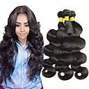 billige Parykker af ægte menneskerhår-3 Bundler malaysisk hår Lige 8A Ubehandlet Menneskehår Menneskehår, Bølget Naturlig Farve Menneskehår Vævninger Bedste kvalitet Hot Salg Menneskehår Extensions Dame