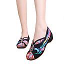 זול מוקסינים לנשים-בגדי ריקוד נשים נעליים קנבס סתיו חורף נוחות נעליים ללא שרוכים שטוח בוהן עגולה שחור / בז' / אדום