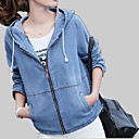 cheap Wallets-Women's Daily Active Fall Regular Denim Jacket, Solid Colored Hooded Long Sleeve Linen Blue / Light Blue L / XL / XXL