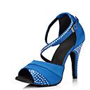 hesapli Latin Dans Ayakkabıları-Kadın's Saten Latin Dans Ayakkabıları Taşlı Topuklular İnce Topuk Kişiselleştirilmiş Mavi