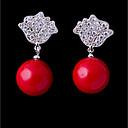 זול שרשרת אופנתית-בגדי ריקוד נשים זירקונה מעוקבת עגילים צמודים - לב מתוק, אופנתי אדום עבור חתונה / ארוסים